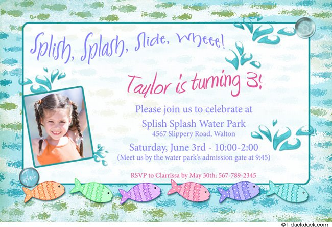 Water Park Birthday Party Invitation Wording
