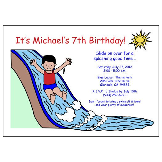 Water Park Party Invitation Wording
