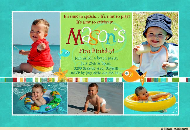 Water Party Invitations Boy