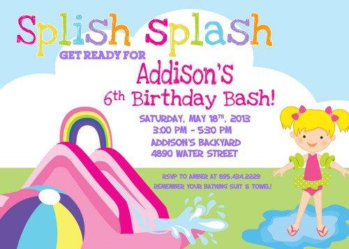 Water Slide Birthday Invitation Wording
