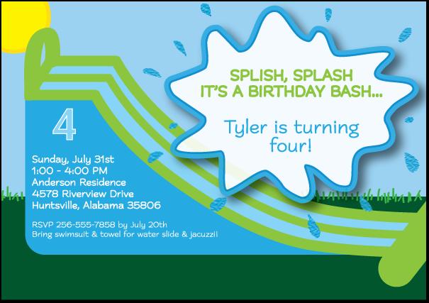 Water Slide Birthday Invitations