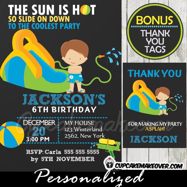 Water Slide Birthday Invitations Printable