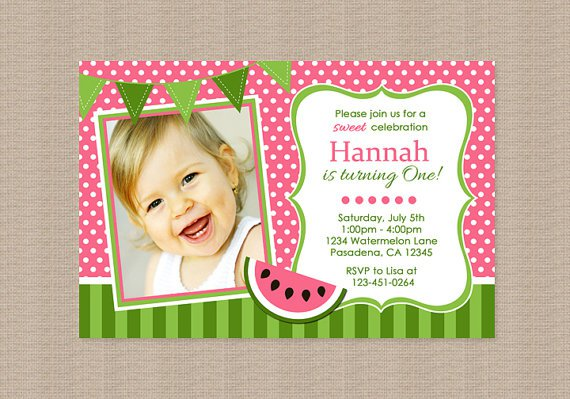 Watermelon Invitations Birthday Party
