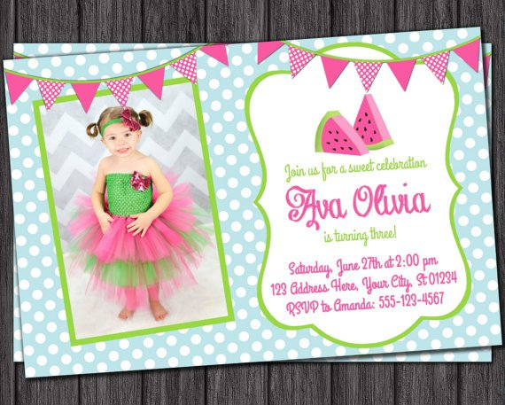 Watermelon Invitations Etsy