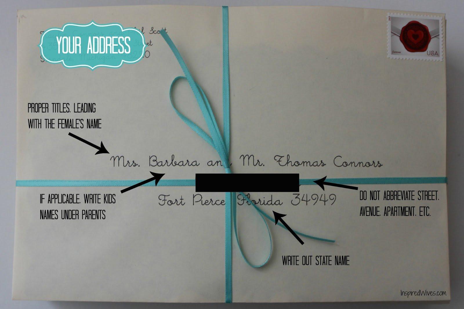 Wedding Invitation Envelope Etiquette Return Address