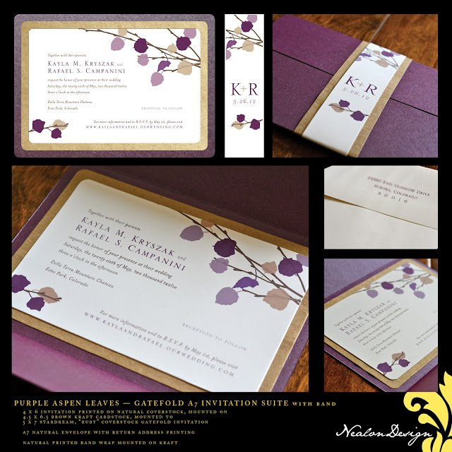 Wedding Invitations With Aspen Leaves