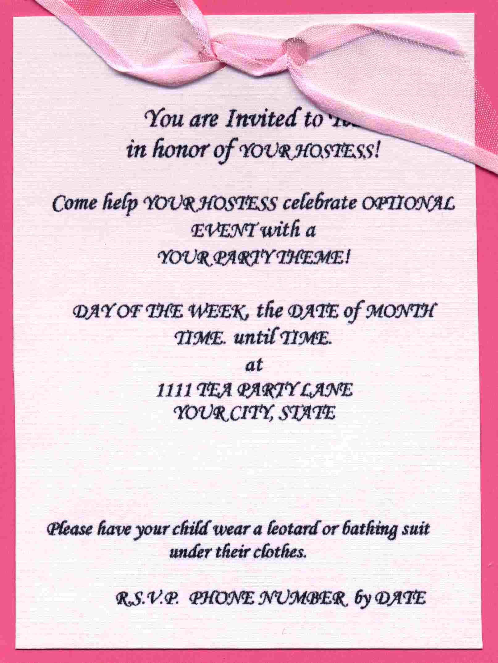 Wedding Party Invitations Wording