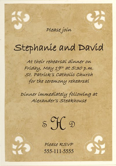 Wedding Rehearsal Dinner Invitations Only