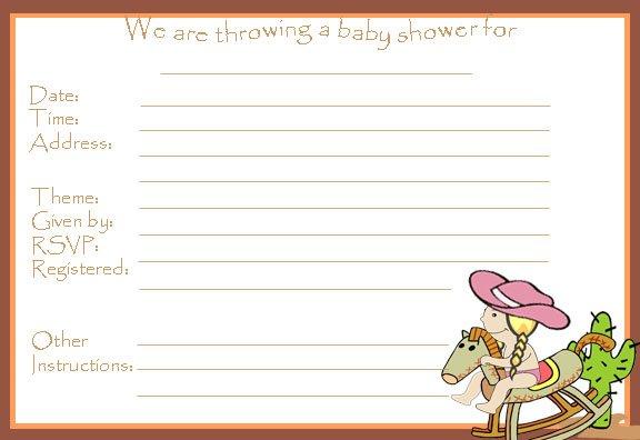 Western Baby Shower Invitations Free