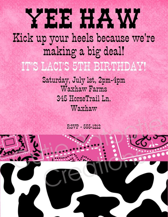 Western Cow Birthday Party Invitations