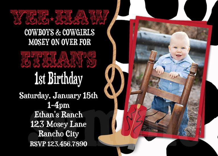 Western Party Invitations Girls