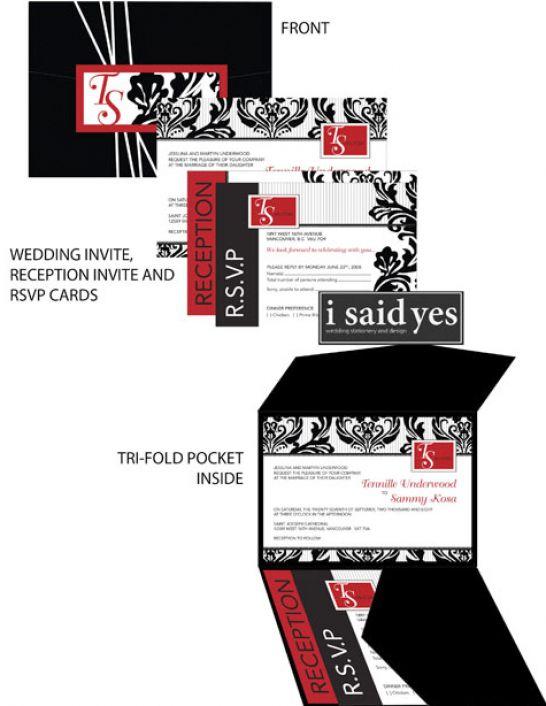 White And Black Bridal Invitations