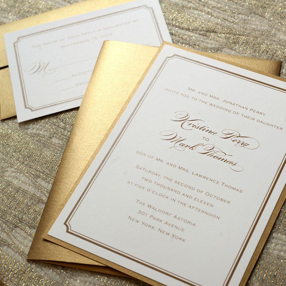 White And Gold Wedding Invitations Pinterest