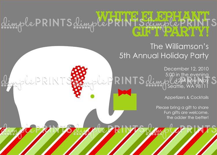 White Elephant Christmas Invitation Wording