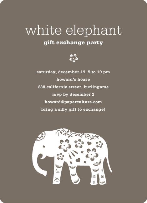 White Elephant Christmas Invitations Ideas