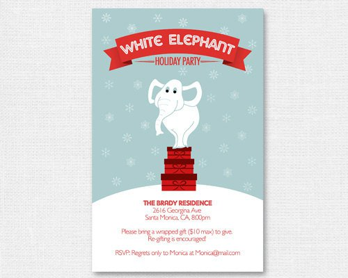 White Elephant Christmas Invitations Ideas - White elephant christmas party invitations templates