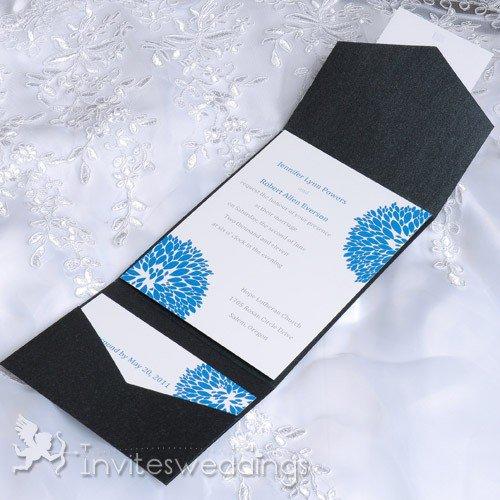 White Pocket Wedding Invitations