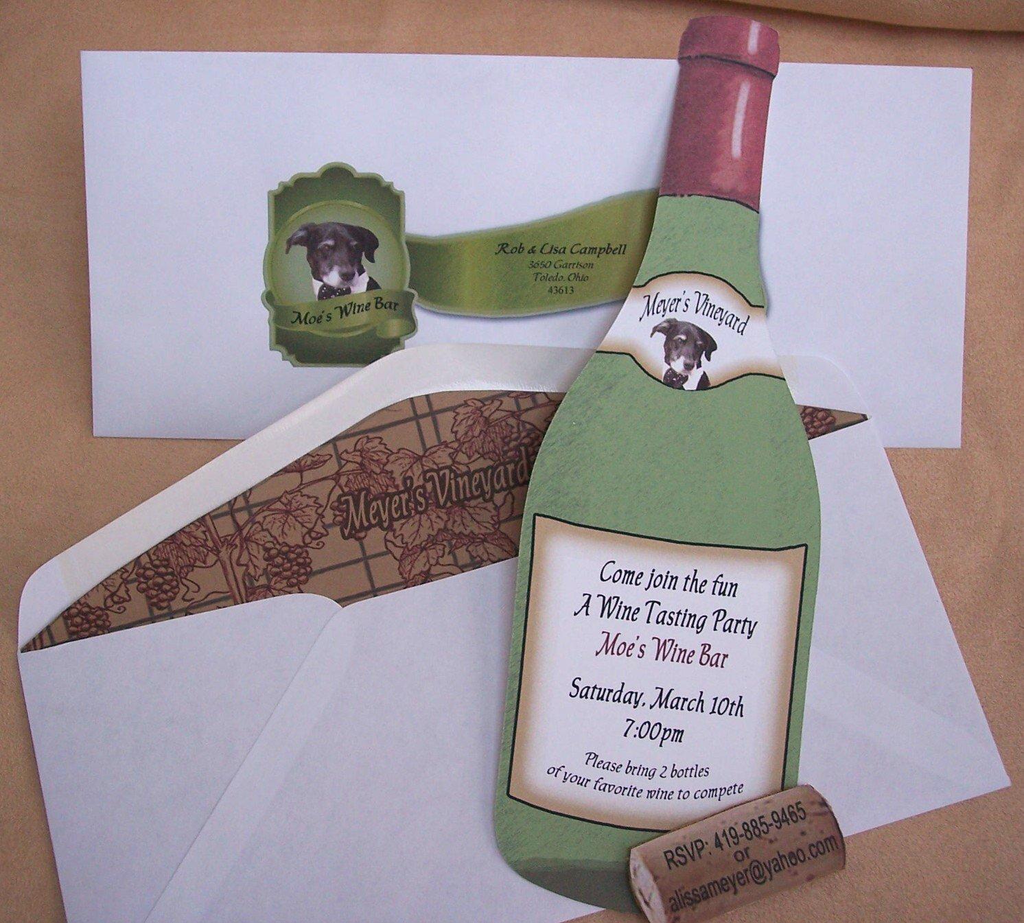Wine Bottle Shaped Wedding Invitations
