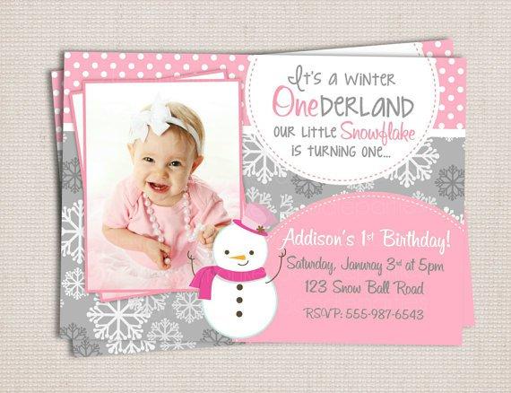 Winter Wonderland First Birthday Invitations