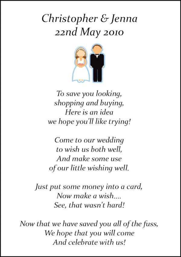 Wishing Well Poems Wedding Invitations