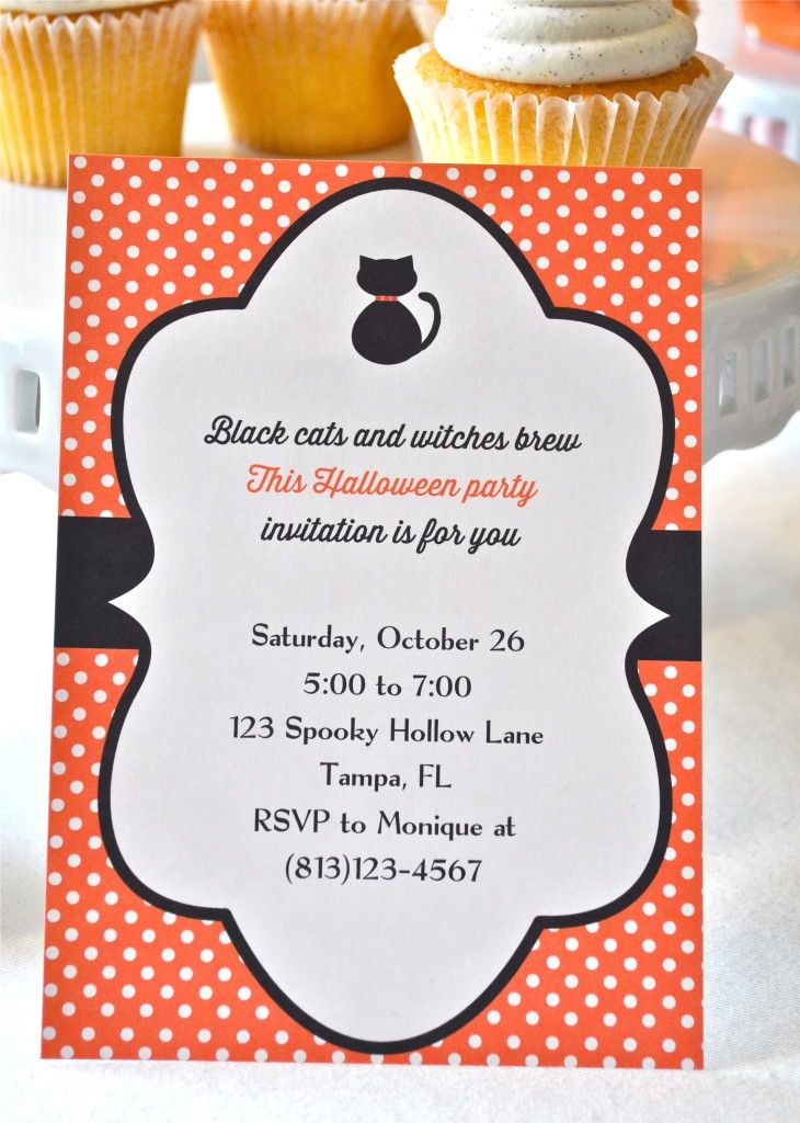 With Cat Printable Halloween Invitations