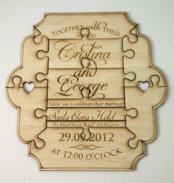 Wooden Wedding Invitations Australia