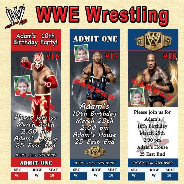 Wwe Personalized Invitations