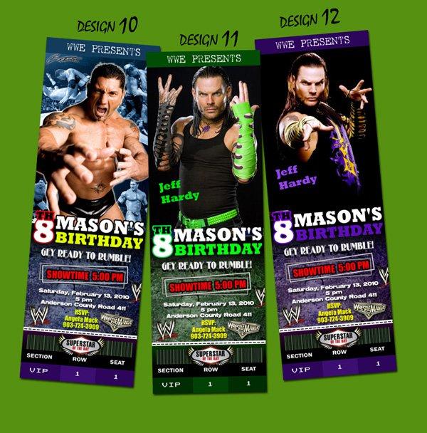 Wwe Wrestling Raw Ticket Birthday Invitations