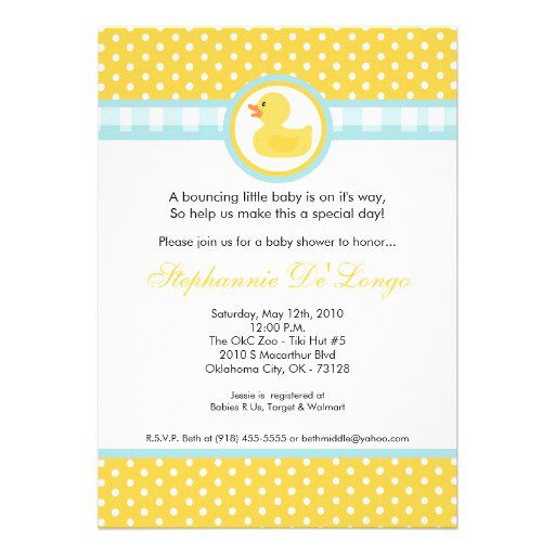 Yellow Ducky Baby Shower Invitations