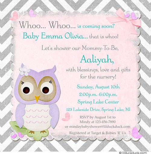 Yellow Lavender Baby Shower Invitations