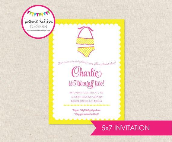 Yellow Polka Dot Bikini Invitations
