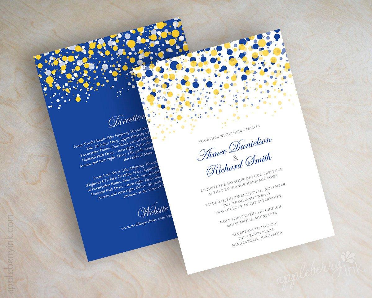 Yellow Polka Dot Wedding Invitations