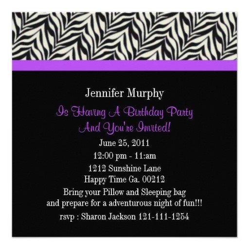 Zebra Print Paper Invitations