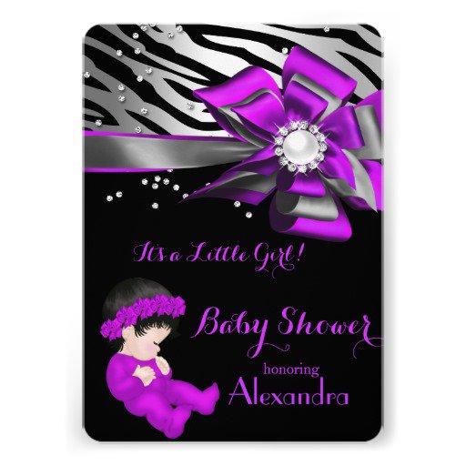 Zebra Purple Black Invitations