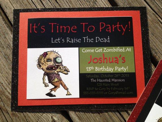 Zombie Party Invitations Wording
